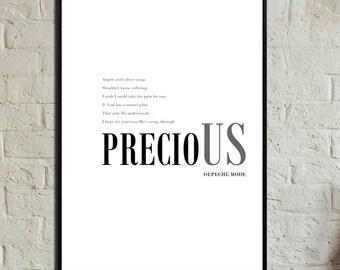 Precious Poster. Instant Download. Depeche mode poster. Stampa digitale. Stampa in stile scandinavo. Regalo per lui. Regalo per lei.