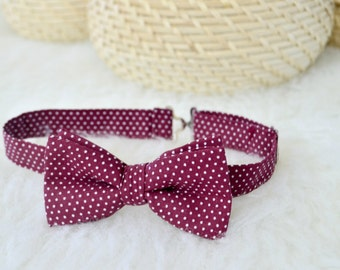 Maroon Bow Tie For Men/Kids, Polka Dot Bow Tie, Pocket Square And Bow Tie, Burgundy Bow Ties For Men, Polka Dots Bow Ties, Boys Bow Tie