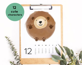 2017 calendar printable, printable calendar 2017, monthly calendar, desk calendar 2017, 2017 wall calendar, cute animals