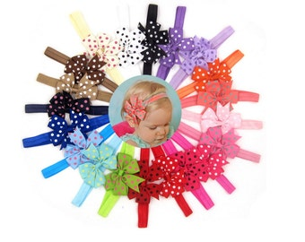 20pcs Girl Baby Girls Infant Boutique Wave Hair Flower Headband Hair Bow Band