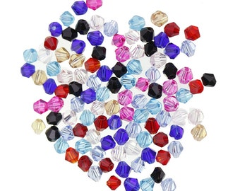 4mm Bicone Beads, Mixed Bicone Beads,  4mm Glass Bicone Beads, 4mm Bicone Beads, Mixed Colour 4mm, 4mm Faceted Beads, 4mm Beads, A799