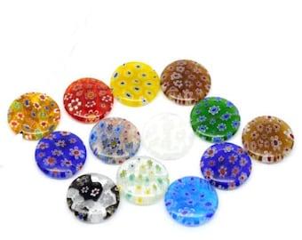 Millefiori, Millefiori Pendant, Lampwork Pendant, Murano Pendant, Floral Pendant, Flower Pendant, Flower Necklace, Lampwork Necklace