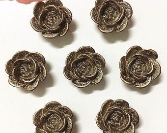 Flower Cabochon, Bronze Flower, Coffee Flower, Metallic Flower, Flower Flatback, Resin Flowers, Flower Applique, Flower Embellishments,
