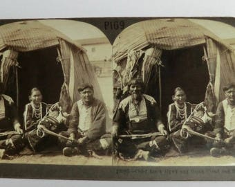Keystone Stereoview Card Chief Black Hawk and Green Cloud with Family Papoose Tent Native American