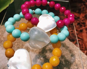Beaded Bracelet with Mother of Pearl Heart