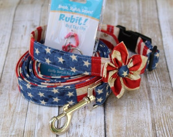 4th of July Dog Collar and Leash Bundle - 4th of July Dog Collar - Patriotic Dog Collar -  American Flag Dog Collar and Leash - Flag Leash