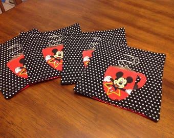 Mickey Mouse Coffee Mug Rugs, Set of 4