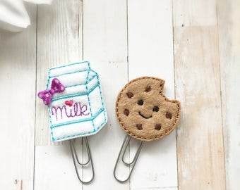 Milk and Cookie BFF Planner Clip Set - Milk Carton and Chocolate Chip Cookie - Planner Accessories - Bookmarks - Food Journal - Cute Planner