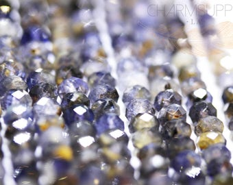 Natural Iolite Faceted Rondelle Beads, FULL STRAND