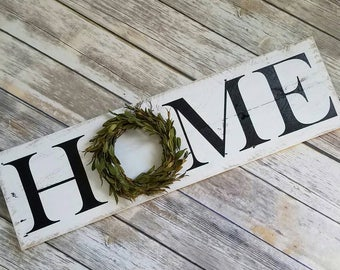 Home Wreath Sign, Wooden Home Decor, Reclaimed Wood Sign, Farmhouse Decor