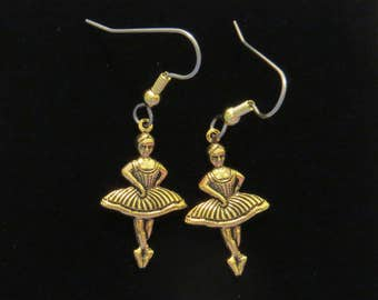 Ballet Dancer Earrings 24 Karat Gold Plate Ballerina Dancers Dancing Ballerinas Dance EG561