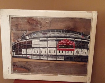 Hand painted Wrigley Field/Chicago Cubs Artwork