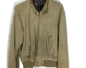 Polo Suede Bomber Jacket Vintage Suede Flight Jacket Ralph Lauren Retro Suede Jacket Vtg Polo Leather Jacket Polo Men's Vintage Jacket
