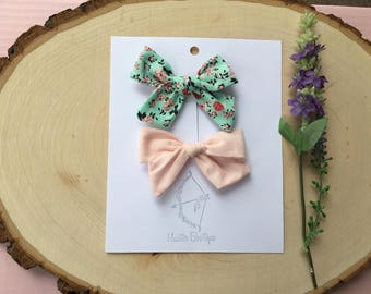 Spring and Summer Hair Bow Set, Knotted Bow, Floral Bow, Pink hair bow, bow set