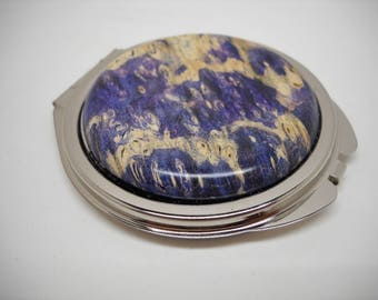 Pewter Finish Compact Mirror with Blue Cabochon