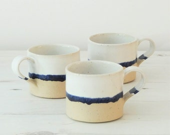Handmade ceramic mug, pottery mug, blue and white glaze, unglazed base, coffee, tea mug, handmade gift, housewarming gift, kitchen, dining