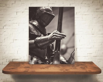 Jousting Lance Knight Photograph - Black White Photography - Fine Art Print - Home Wall Decor - Medieval Knights - Man Cave Office Pictures