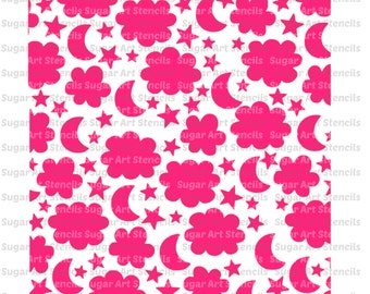 Stencil for cookies background clouds and moons baby shower kids ...