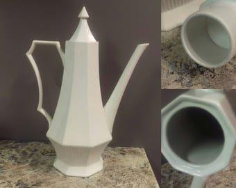 Vintage tea pot, white colonial, tall tea pot, white ironstone, farmhouse kitchen, minimalist teapot