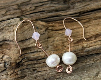 Freshwater Pearl Earrings-Bridal--Rose Gold Plated Sterling Silver Ear Wires-Opaline Crystal-FREE UK P+P*
