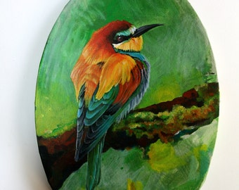 Oil painting on canvas. Bee eater. 30x20 cm.