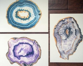 Agate Series Set of 3 Watercolor Prints