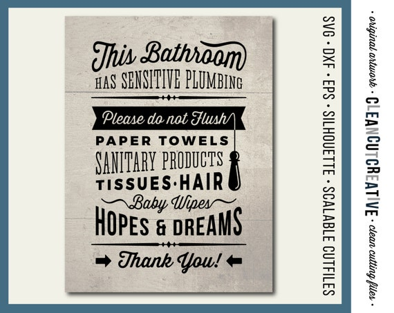 Bathroom Signs Do Not Flush svg bathroom sign sensitive plumbing do not flush hopes &
