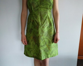 Vintage no doubled green silk dress size 40 homemade