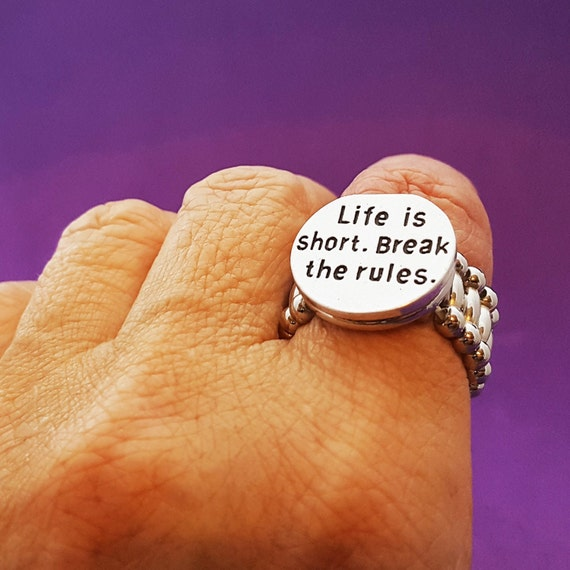 Crossfit Jewelry, Fitness Gifts, Life is Short Break the Rules Ring, Team Coach Runner Gifts, Motivational Quotes, Inspirational Word Charms