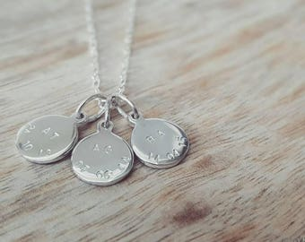 Personalised sterling silver initial and date necklace, initial necklace, date necklace, gift for her, mothers day gift, family necklace