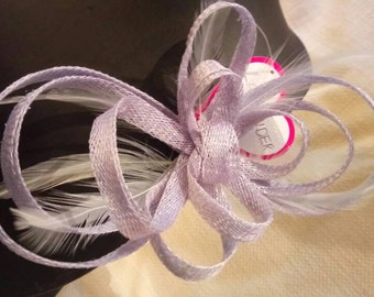 Bow Fascinator with feathers. Lavender colour.
