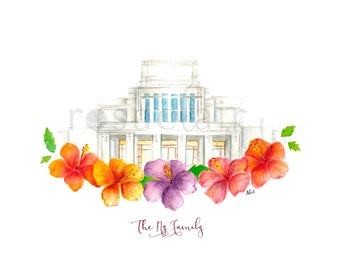 LDS Laie Hawaii Temple Watercolor Print Wedding Home Decor Gift Floral Painting Art Baptism Birthday Custom Christmas