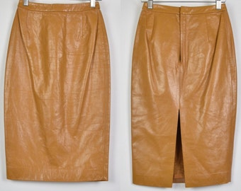 Le Ciel Bleu premium leather mustard wiggle/pencil skirt. Extra small UK 4-6