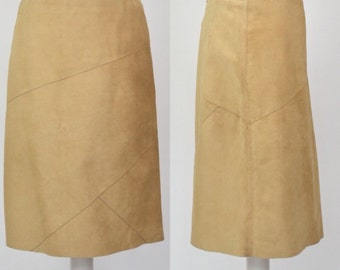 Vintage beige suede United Colors of Benetton panelled A-Line skirt Small UK10