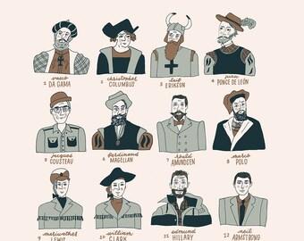 Famous Explorers Illustration Print
