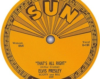 Elvis Presley record label stickers. Sun records. HMV. RCA.