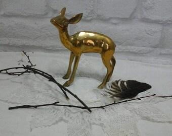Brass faun,brass deer,vintage brass,faun ornament,woodland decor,brass ornament,brass decor,faun,deer ornament,young deer ornament,brass