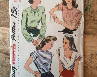 Vintage Simplicity Pattern #1093 for 4 Blouse Styles Size 12