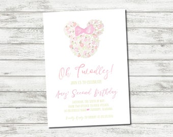 """Printable Watercolor """"Oh Twodles"""" Minnie Mouse Themed Baby Girl Invitation Suite"""