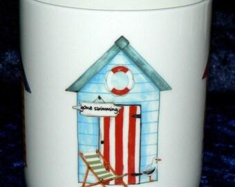 Beach Hut 1 pint bone china mug 3 diff huts around mug - personalised if required at no extra cost