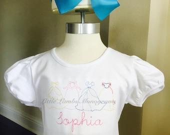 Vintage Stitched Princess Dresses Embroidered Shirt