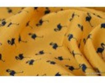 Tissu polyester fluide imprimé flamants x50cm