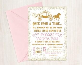 Princess Birthday Invitation, Princess Invitation, Once Upon a Time, Golden Birthday, Princess Birthday, Girl Birthday, Princess Party