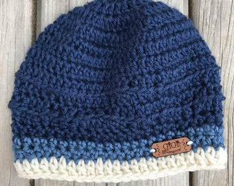 Crochet, unisex beanie, handmade, multi colored , toddler, baby, blue, cream