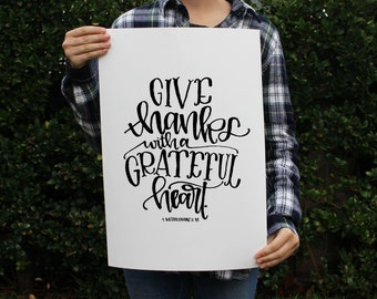 Art Print - Give Thanks with a Grateful Heart - Thanksgiving Bible Verse