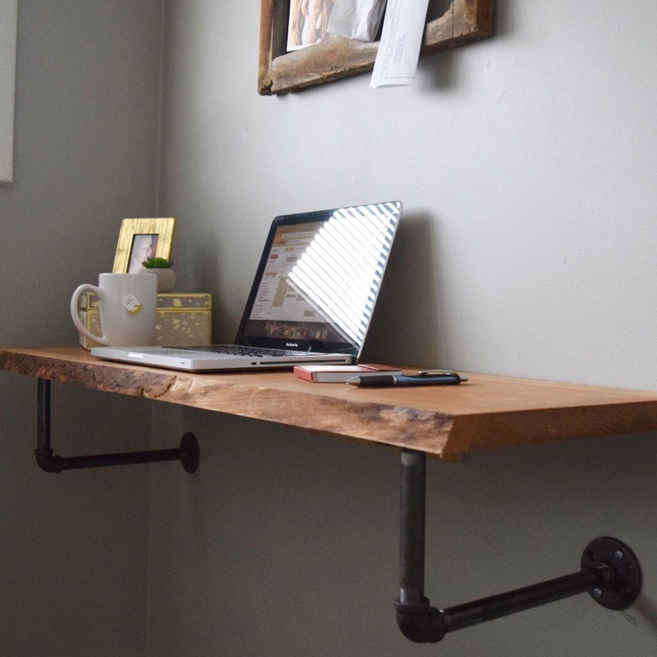Live Edge Floating Desk By 32belowdesigns On Etsy