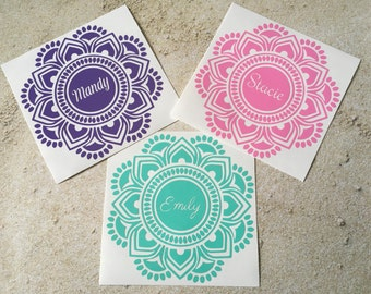 Mandala Decal - Mandala Sticker - Mandala Name Decal - Yeti Decal - Yeti Decal for Women - Laptop Decal - Water Bottle Decal - Name Decal