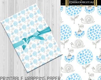 80% Off Snail Printable WRAPPING PAPER,Lovely Snail patterns,snail mail,Woodland Paper Printable,Card Making,Stationery,Cute Animal Paper