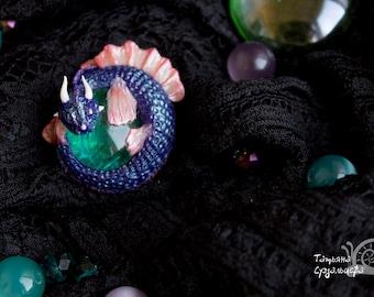 Brooch Sea Dragon polymer clay glass Fantasy