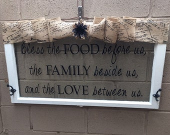 Wood window, Vintage Window, Repurposed Window, Rustic Decor, Shabby Chic Decor, Antique Window, Country Decor, Window Word Saying, Family
